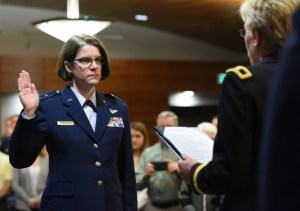 In a ceremony at the Arctic WarriorEvents Center, Colonel Karen Mansfield was promoted to Brigadier General on March 6th. Image-Alaska National Guard