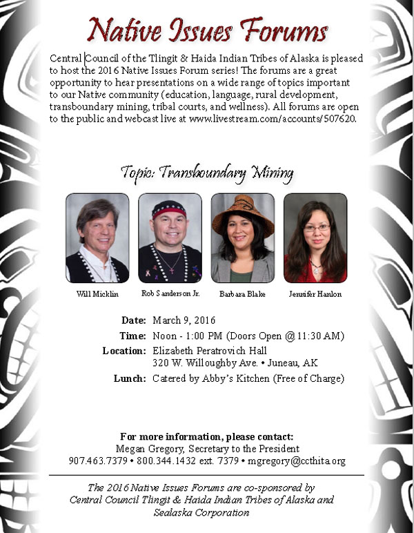 Native Issues Forum-Wednesday, March 9th