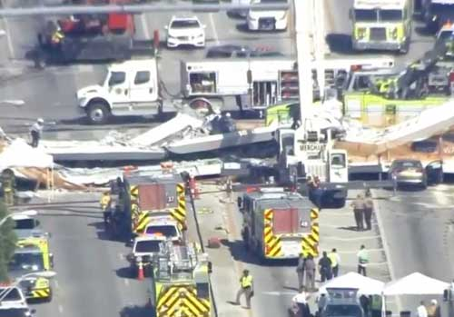 Miami Bridge Collapses on Eight Lanes of Traffic with Fatalities