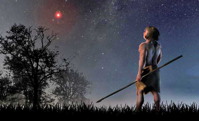At a time when modern humans were beginning to leave Africa and the Neanderthals were living on our planet, Scholz's star approached less than a light-year. CREDIT-José A. Peñas/SINC