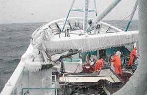 Deckhands working on deck of Bering Sea crabber. ADF&G
