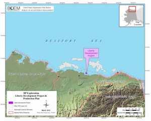 Map showing location of Liberty development project. Image-BOEM