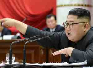 Kim Jong  Un at North korea's 5th Plenary meeting of the Central Committee of the worker's party. Image-Korean Central News Agency
