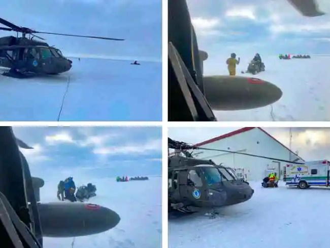 An Alaska Army National Guard UH-60 Black Hawk helicopter aircrew performed a search and rescue mission for three Iditarod mushers about 25 miles east of Nome, March 20, 2020. The mushers and their dogs went through Bering Sea flood waters on the race trail and were wet and freezing. The aircrew transported two firefighter emergency medical technicians and Iditarod dog handlers to assist. The mushers were flown to Nome and transported to a local hospital. A local search and rescue team helped race dog handlers care for the sled team and returned them to Nome. (Courtesy photos)