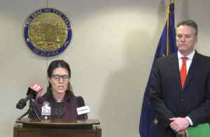 Governor Mike Dunleavy and Chief Medical Officer Dr. Anne Zink at Coronavirus press conference. Image- State of Alaska/YouTube