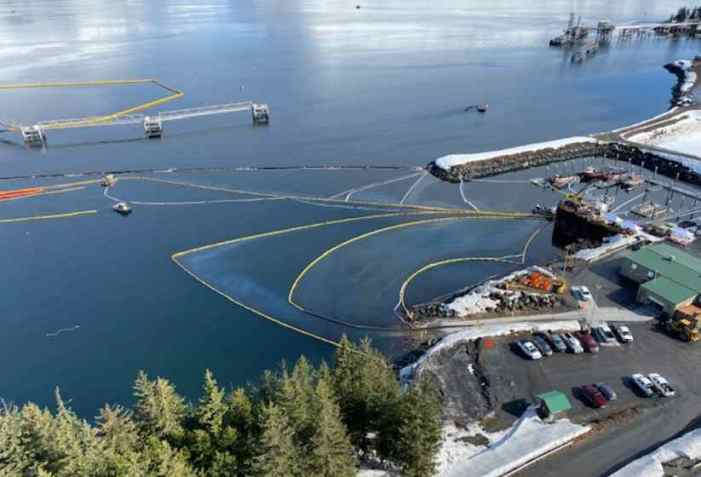 Oil Spill Cleanup Continues at Valdez Boat Harbor