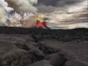 AQn eruption launching magma. Photo by Jefferey Alan Karson, Syracuse University