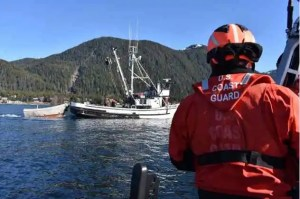 Petty Officer 1st Class Nicolas Santos, a boatswain's mate with the Coast Guard Cutter John McCormick, operates the cutter's small boat alongside the fishing vessel Tenisha Rose in Sitka Sound, Alaska, while Lt. j.g. Michaela Mckeown and Lt. j.g. Michael Civay conduct a commercial fishing vessel safety inspection March 19, 2019. The cutter crew conducted commercial fishing vessel safety exams in the Sitka Sound and Sitka Harbor in preparation for the 2019 Sac Roe Herring fishery. U.S. Coast Guard photo by Ens. Lindsay Wheeler.