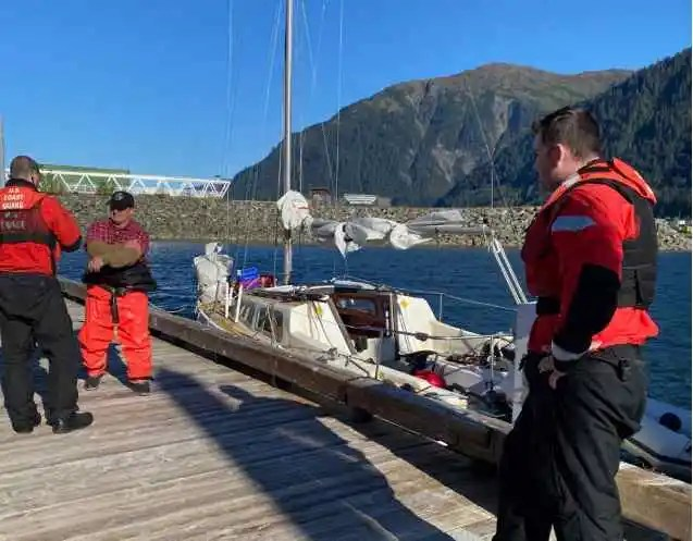 Coast Guard Station Juneau Crew, ADFG, Assist Family in Distress near Marmion Island