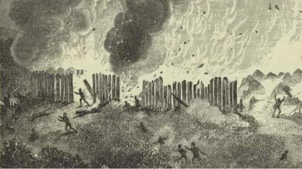 A nineteenth-century engraving depicting the burning of a Pequot Nation Fort, believed to be the Mystic massacre in 1637