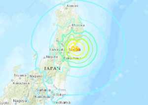 Map showing location of Saturday's earthquake in Japan. Image-USGS
