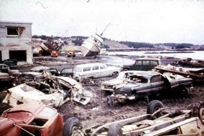 Damage along the Kodiak waterfront following the March 27th, 1964 earthquake and tsunami. Image-U.S. Geological Survey
