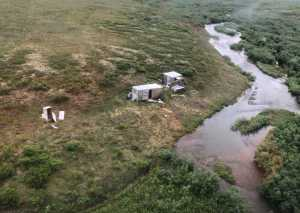 KODIAK, Alaska - Pictured is a remote mining camp near Nome, where a Coast Guard Air Station Kodiak aircrew rescued the survivor of a bear attack, on July 16, 2021. U.S. Coast Guard courtesy photo.