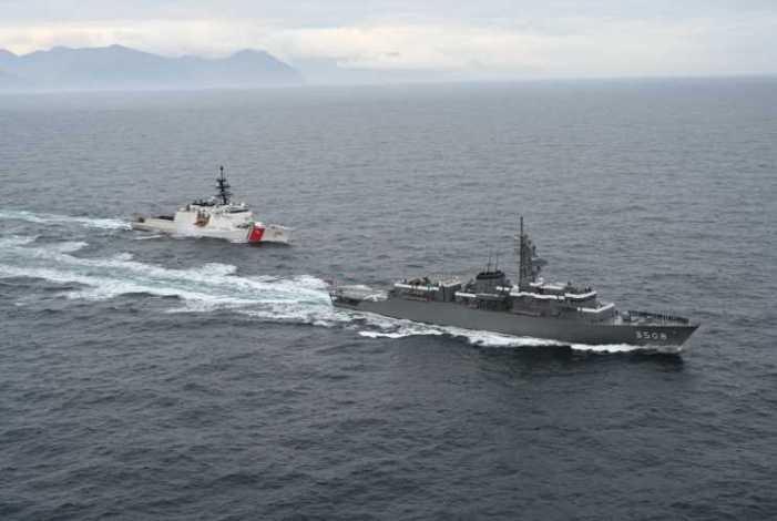 CGC Kimball, Japanese Navy training vessel conduct at-sea exercise near Dutch Harbor