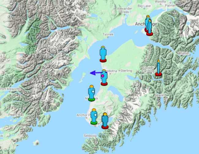 A screenshot of of a website prepared for the American Meteor Societyshowing reports from Alaska residents about a fireball that exploded above Alaska on September 30, 2021. The blue arrow is  the estimated direction of the fireball.