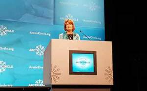 Murkowski speaking at the Arctic Circle Assembly. Image-Murkowski press office