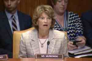 Senator Murkowski questioning Ambassador Lighthizer during a Commerce, Justice, and Science Appropriations Subcommittee hearing. Image-Office of Senator Murkowski