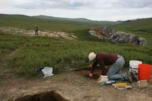 An archaeological site near Serpentine Hot Springs on the Seward Peninsula. Photo by Ted Goebel.