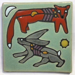 Fox and hare art tile