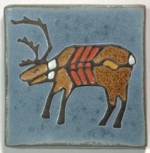 "4"" X-ray Style Caribou Art Tile"