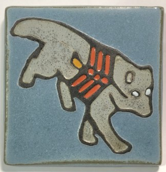 "4"" X-ray Style Wolf Art Tile"