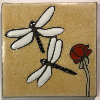"6"" Dragonflies Art Tile"