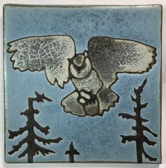 "6"" Flying Owl Art Tile"