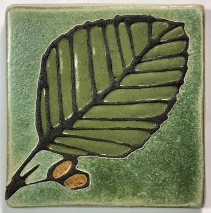 """4"""" Alder Leaf Art Tile"""