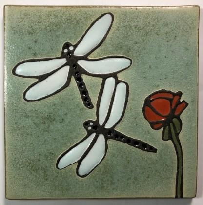 "6"" Dragonflies Art Tile"