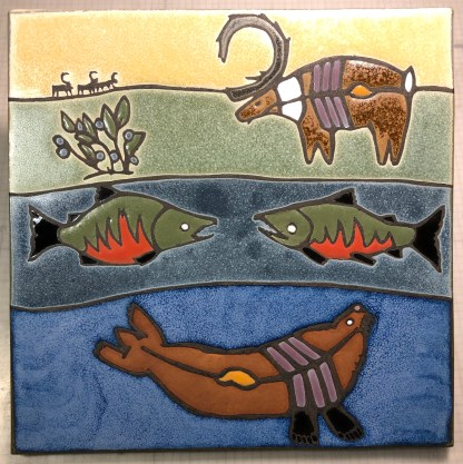 "12"" Art Tile with Animals"
