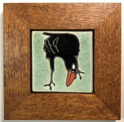 Leaning Raven in Oak Frame