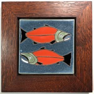 """6"""" Salmon in Oak Frame"""
