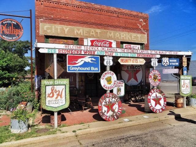 """""""Welcome to Erick, Oklahoma, the redneck capitol of the world. Yee-haw! See rednecks work and play in their own environment!"""""""