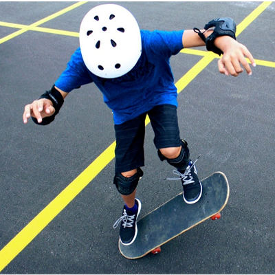A kid on a skateboard