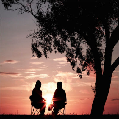 Two people under a tree at sunset