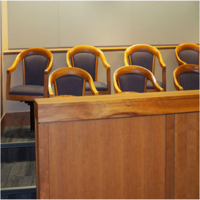 An empty juror box