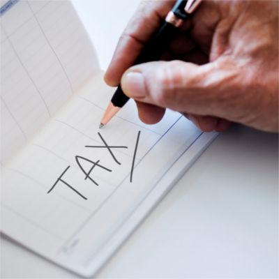Tax written on a calendar