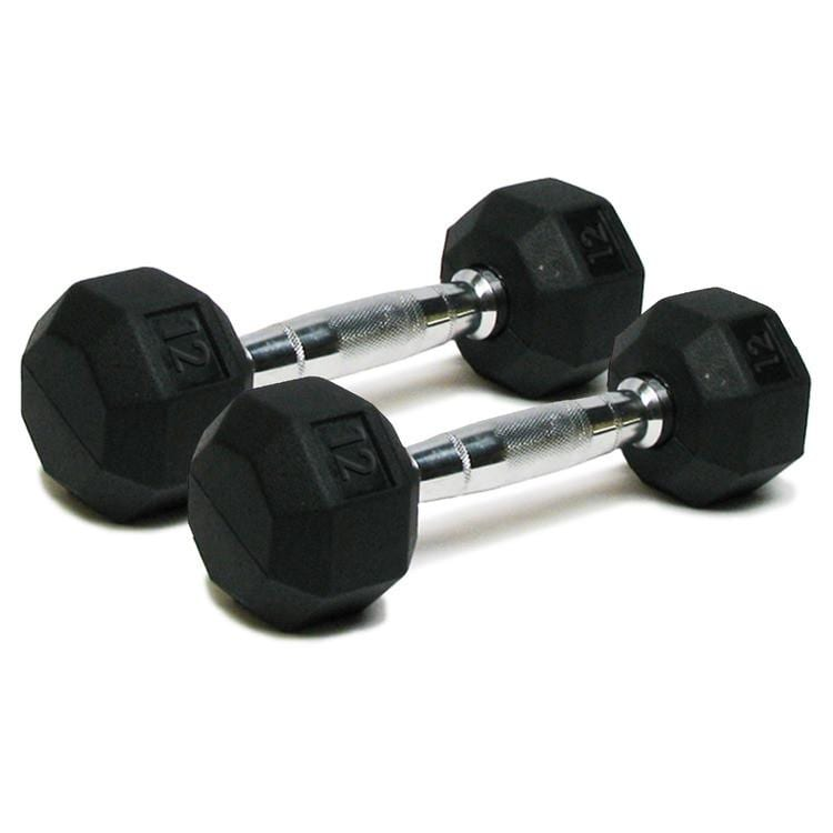 Deluxe Rubber Dumbbells – 12lb
