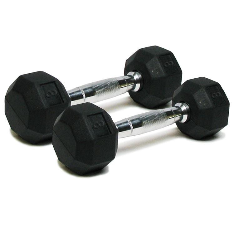 Deluxe Rubber Dumbbells – 8lb
