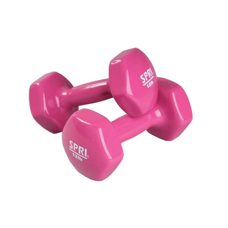 Deluxe Vinyl Dumbbells – 12lb Pair -hot Pink