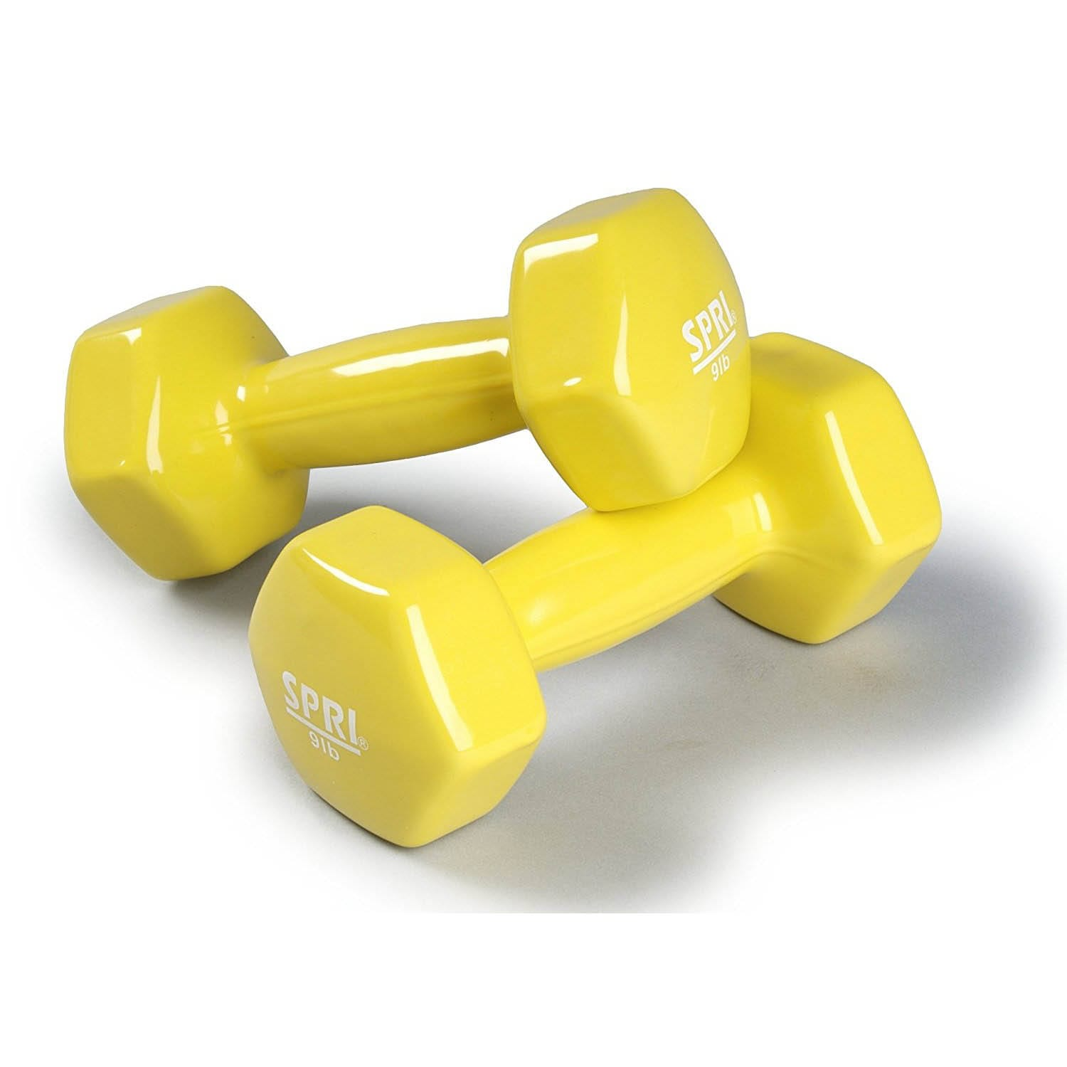 Deluxe Vinyl Dumbbells – 9lb Pair -yellow
