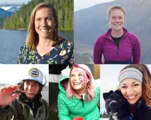 combined images of 5 young women in various outdoor locations