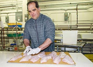Chris Sannito in seafood processing room preparing fish filets on a tray