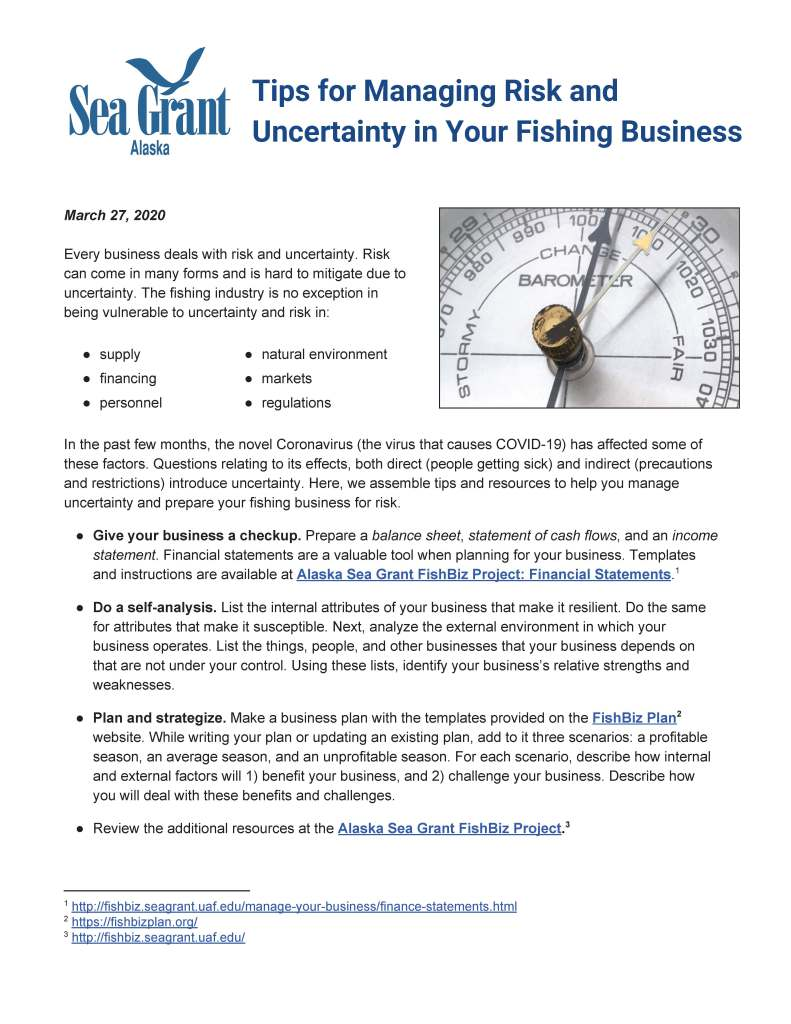 Tips for Managing Risk and Uncertainty in Your Fishing Business cover