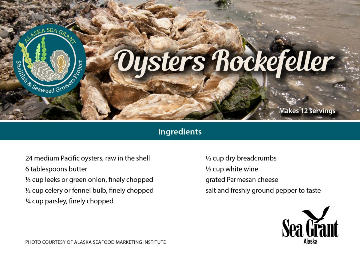 Card with Oysters Rockefeller recipe details