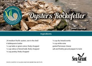 Card with oyster Rockefeller recipe ingredients