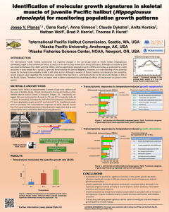 scientific poster concerning identification of molecular growth signatures in skeletal muscle of juvenile pacific halibut for monitoring population growth patterns
