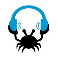 logo showing crab holding headphones