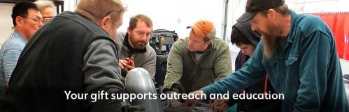Gabe Dunham teaches outboard engine class