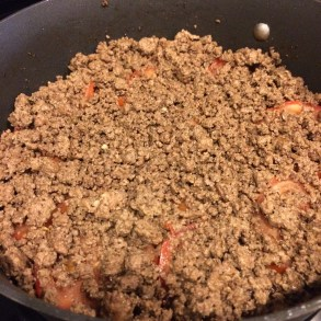 then the ground beef or cooked meat of choice.